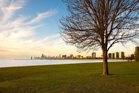 Montrose Harbor and Lincoln Park at the shore of Lake Michigan, Chicago, Illinois Stock fotó