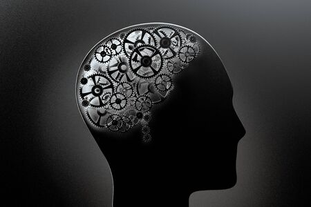 3D rendering of a conceptual image of a human brain made of cogwheels Stock fotó