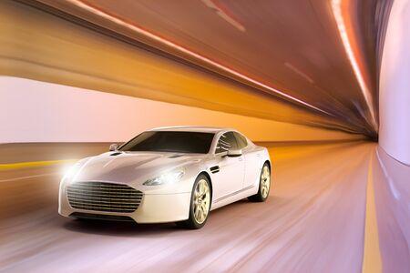 3D rendering of a sport car in motion inside a tunnel Stockfoto
