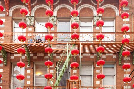 Chinese Lanterns outside a building in Chinatown, San Francisco, California, USA
