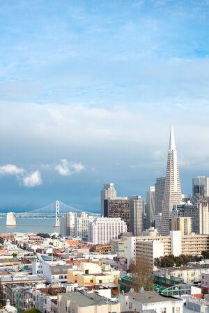 Skyline of Financial District and North Beach neighborhood, San Francisco, California, USA Archivio Fotografico