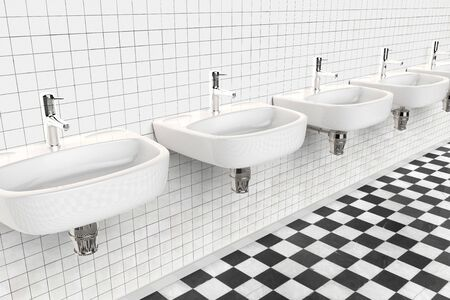 3D rendering of the interior of a public bathroom