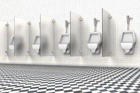 3D rendering of urinals in a public bathroom