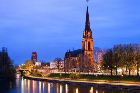 Dreikoenigs church and River Main, Frankfurt, Hesse, Germany
