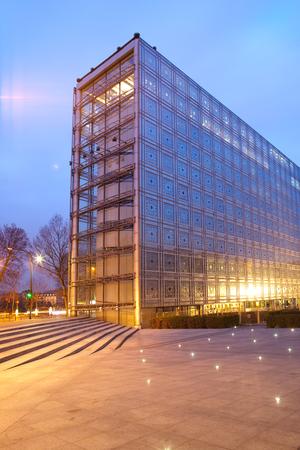 Paris, France - April 08, 2010: The light sensitive facade of The Institut du Monde Arabe (Arab World Institute), Paris, France