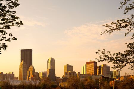 View of city downtown from Allegheny Commons Park, Pittsburgh, Pennsylvania, USA