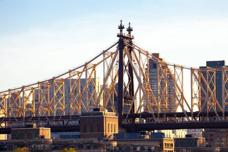 Detail of the Queensboro Bridge in the Upper East Side, Manhattan, New York City, New York, United States Banco de Imagens