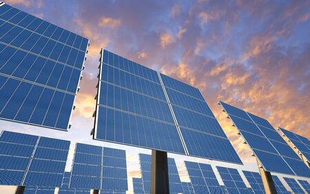 3D rendering of a electricity plany with solar panels