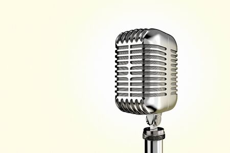3D rendering of a retro vintage microphone on plain background.