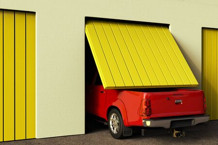 3D rendering of a conceptual image of a big pickup truck that does not fit in the garage. Banque d'images