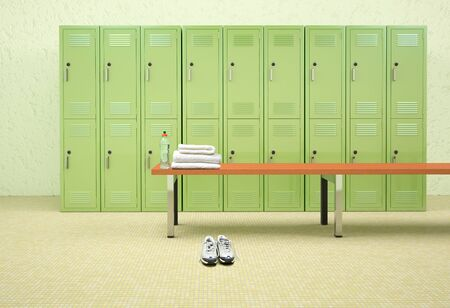 3D rendering of a female dressing room of a gym.