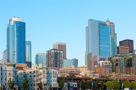 Buildings at downtown waterfront, Seattle, Washington, United States.
