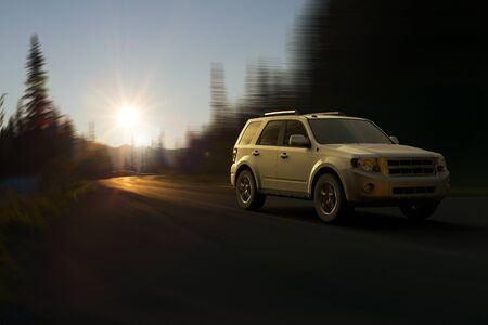 3D rendering of a SUV on motion at Mount Rainier National Park, Washington State, United States