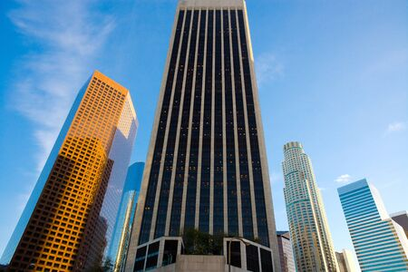 Skyline of buildings at downtown financial district in Los Angeles, California, United States