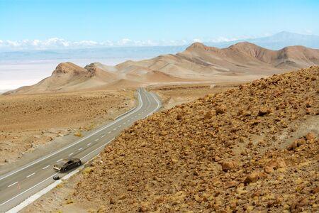 3D rendering of a car failure in a remote road in the Atacama desert.