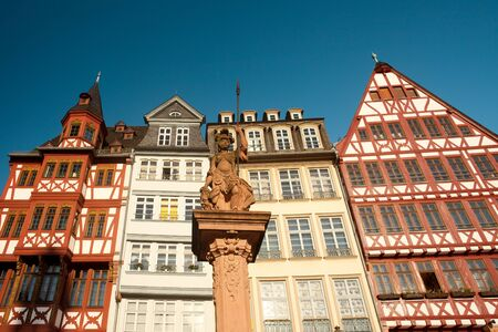 Romerberg square at the old town center, and the Romer, Frankfurt am main, Hesse, Germany