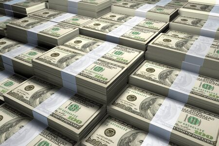 3D rendering of a large stack of one hundred US Dollars bills.