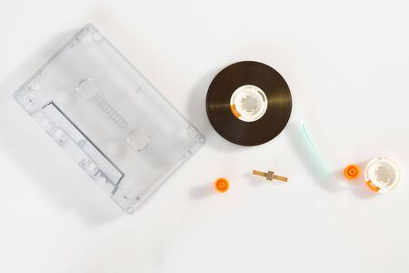 Pieces of an old vintage cassette tape