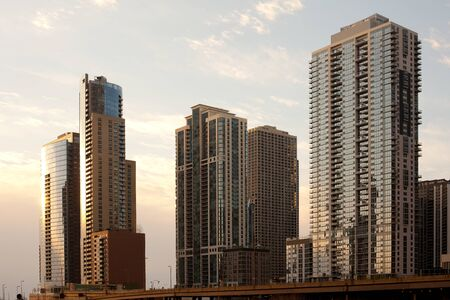 Skyline of buildings at Chicago river shore, Chicago, Illinois, United States