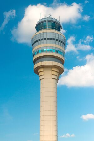 Hartsfield-Jackson International Airport, Atlanta, Georgia, United States - A close-up view of the control Tower at Hartsfield-Jackson International Airport