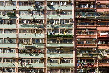 Detail of housing project apartments in Hong Kong, China
