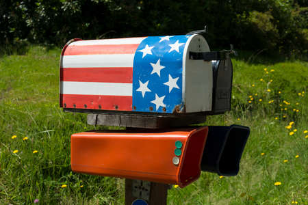 Mailbox with American flag painted on it at Washington State, United States