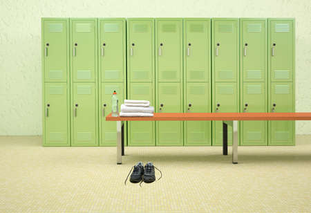 3D rendering of a male dressing room of a gym.