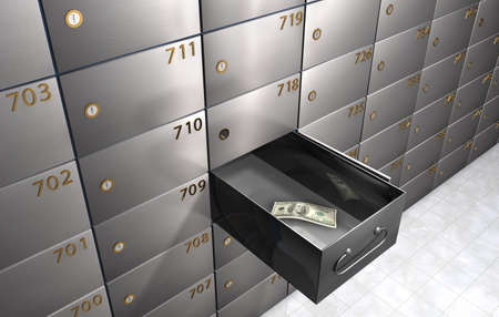 3D rendering of an empty Safety deposit box with only one bill left representing the concept of economic crisis. Imagens