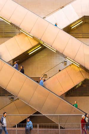 Hong Kong Island, Hong Kong, China, Asia - Escalator with people at an old building in Hong Kong. Editorial