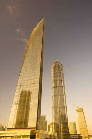 Pudong, Shanghai, China, Asia - View of the SWFC, Shanghai World Financial center at left and Jinmao Tower at right.