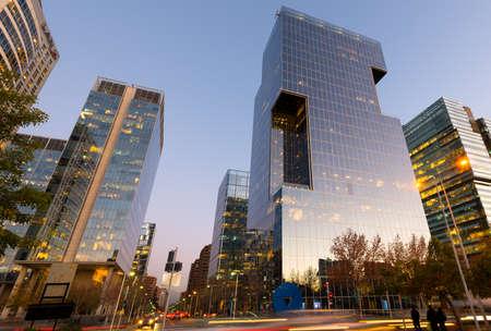Las Condes, Santiago de Chile; Region Metropolitana, Chile - August 06, 2014: Office buildings at Nueva Las Condes business center.