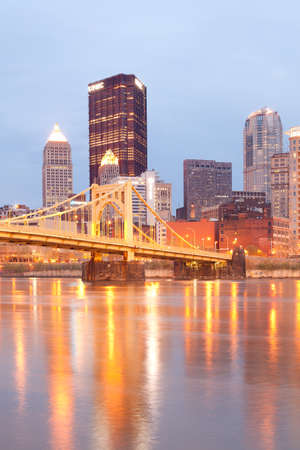 Pittsburgh, Pennsylvania, United States - Downtown skyline and Andy Warhol Bridge over Allegheny River.