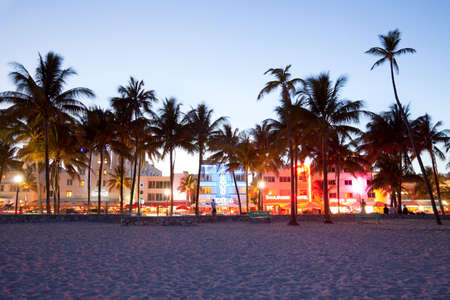 Miami, Florida, United States - Hotels, bars, restaurants and night life at Ocean Drive in South Beach. 新闻类图片