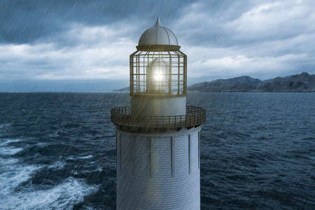 3D rendering of a lighthouse in the rain with the sea in the background. Stockfoto