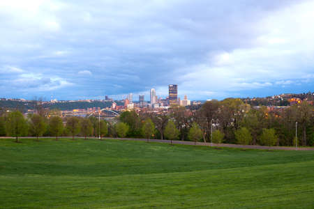 Schenley Park at Oakland neighborhood and downtown city skyline, Pittsburgh, Pennsylvania, United States