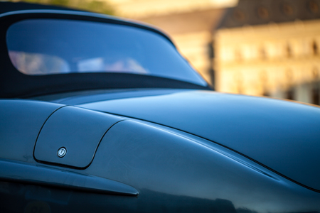 Close-up of fuel filler cap and car body Editorial