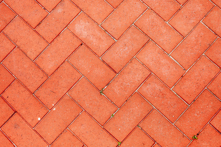 Color picture of tiled red brick pavement, detail