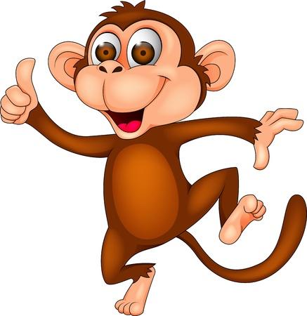 chimpansee: Dancing monkey met duim omhoog Stock Illustratie