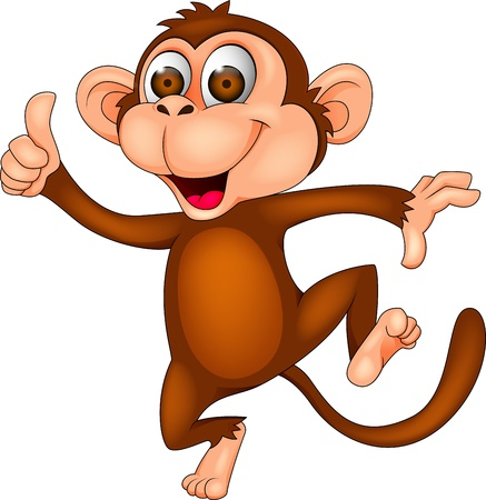 monkey in a tree: Dancing monkey with thumb up Illustration
