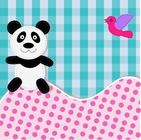 birth day: Greetings card with a smiling sitting panda  Illustration