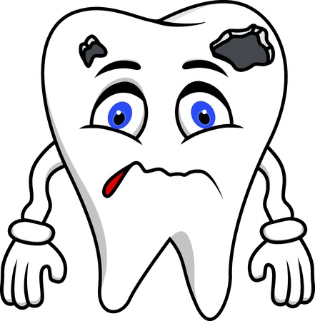 dientes con caries: Diente Sad Vectores