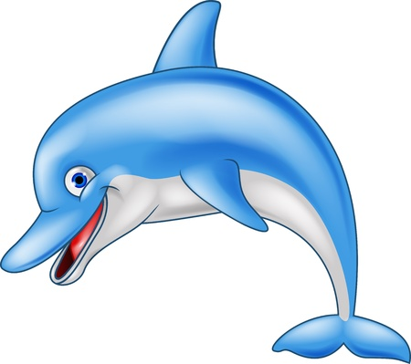 cute clipart: Happy dolphin