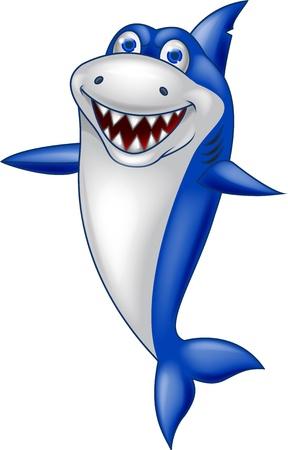 tiburon caricatura: Caricatura tibur�n feliz Vectores