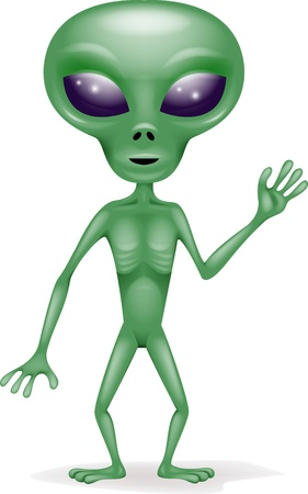 Cartoon alien verde
