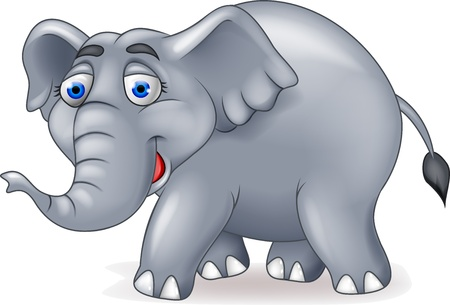 elephant icon: Happy elephant cartoon