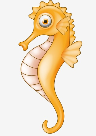 underwater fishes: Funny seahorse cartoon
