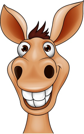 Smiling donkey head Illustration