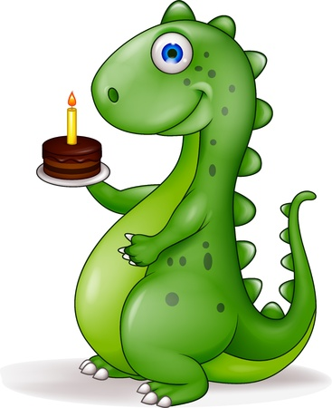 dinosaurio caricatura: Dinosaurio divertido con la torta de cumpleaños