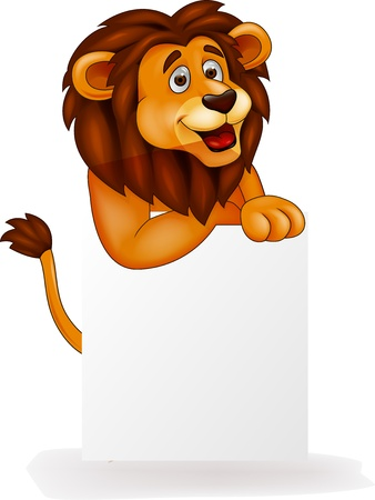 white lion: Lion cartoon with blank sign