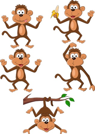 cute cartoon monkey: Monkey cartoon set